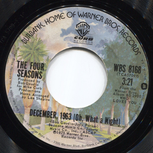 "The Four Seasons: December, 1963 (Oh, What a Night) / Slip Away - 7"" 45 rpm Vinyl Record"