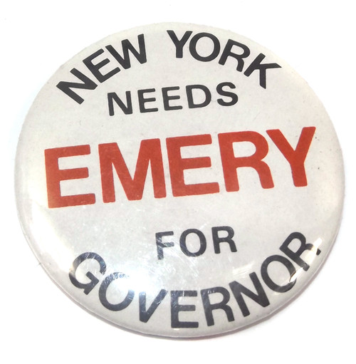 Vintage Emery for New York Governor Election Campaign Political Pinback Button