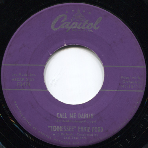 """""""Tennessee"""" Ernie Ford: Call Me Darlin' / Rock, Roll, Boogie  - 7"""" 45 rpm Vinyl Record"""