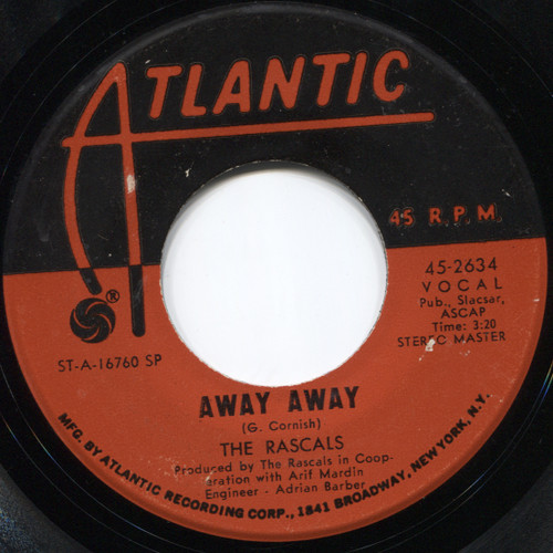 "The Rascals: See / Away Away - 7"" 45 rpm Vinyl Record"