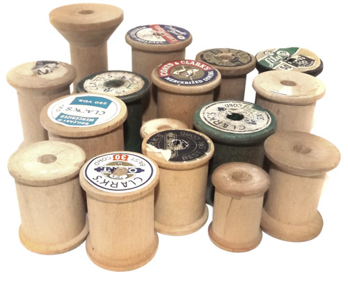 Lot 16 Empty Vintage Wooden Spools Sewing Thread Spools for Crafts