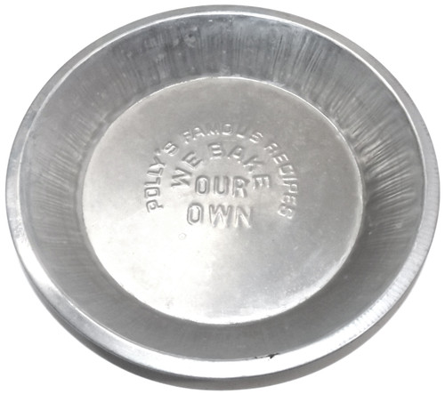 """Vintage Polly's Famous Recipes We Bake Our Own Aluminum 9"""" Pie Pan Plate"""