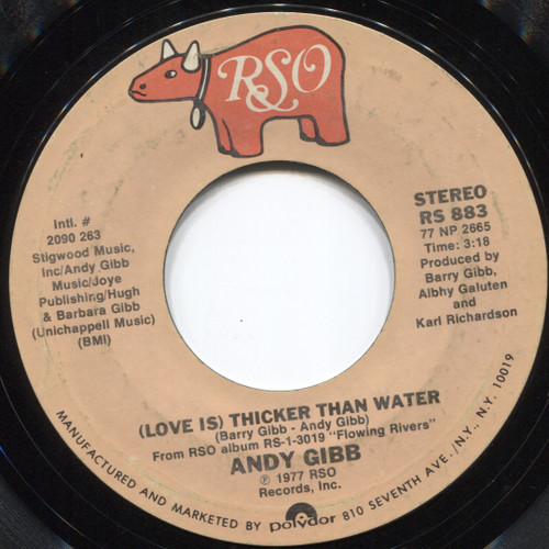 """Andy Gibb: Words and Music / (Love Is) Thicker Than Water - 7"""" 45 rpm Vinyl Record"""