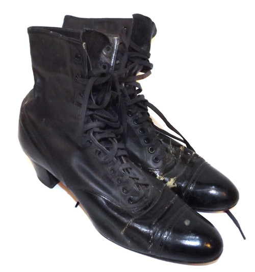 Antique Sorosis Special Order Victorian High Heeled Black Ladies Boots