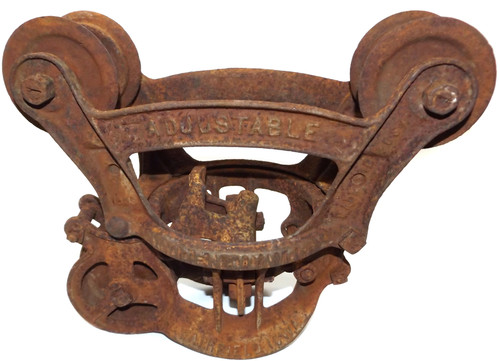 Antique Louden Junior Cast Iron Cable Barn Hay Trolley Carrier Pulley Hoist