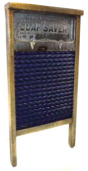 Antique National Washboard Co. No. 11 Soap Saver Cobalt Blue Enamel Wash Board