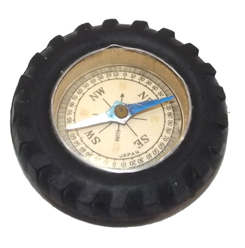 Vintage Working Toy Compass Encased in Rubber Tire Japan