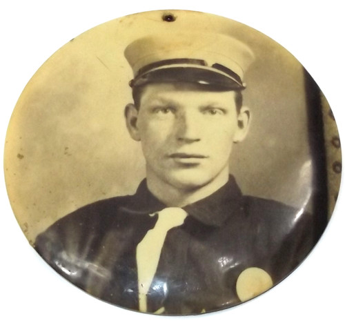 Antique Celluloid Medallion Photograph Drum Corps Member in Uniform Kenmore, NY