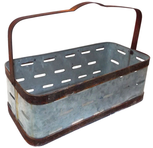 Vintage Galvanized Metal Tray with Handle Bottle Carrier Milk Soda