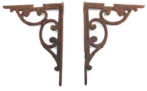 Pair of Stout Cast Iron Antique Victorian Early Industrial Shelf Brackets with Scrolls