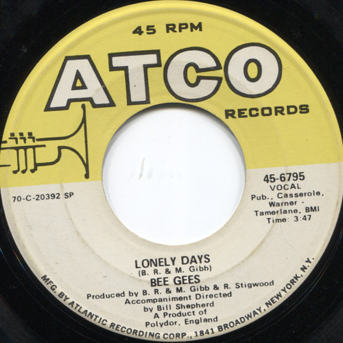 """Bee Gees: Lonely Days / Man For All Seasons  - 7"""" 45 rpm Vinyl Record"""