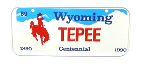 Vintage 1990 Wyoming TEPEE Vanity Bicycle License Plate
