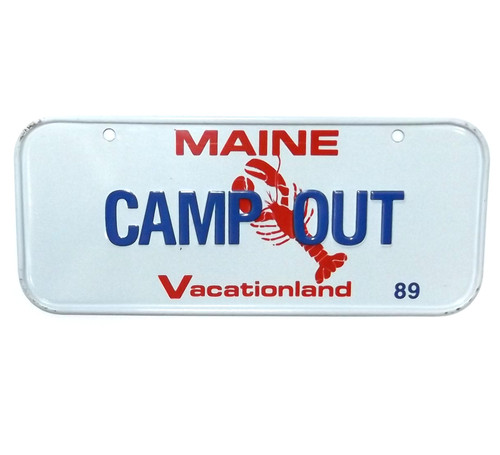 Vintage 1989 Maine CAMP OUT Vanity Bicycle License Plate