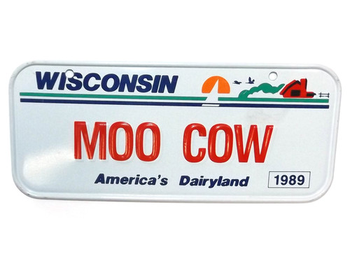 Vintage 1989 Wisconsin MOO COW Vanity Bicycle License Plate