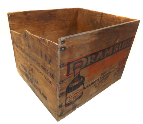 Vintage Primitive Weathered Wooden Drambuie Liqueur Shipping Crate Box