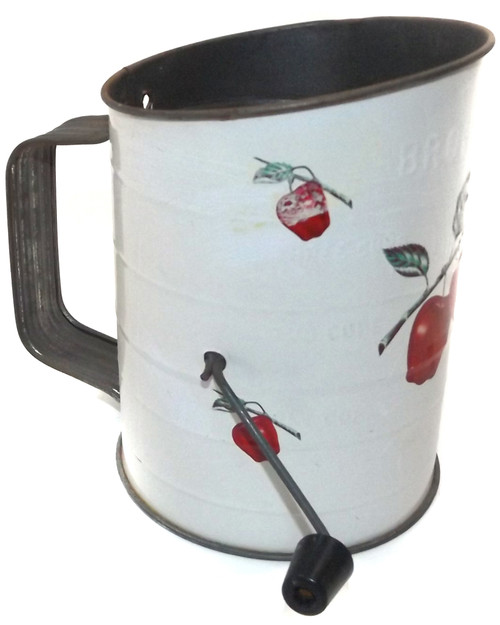 Vintage Bromwell's 3 Cup Flour Sifter with Apple Graphics