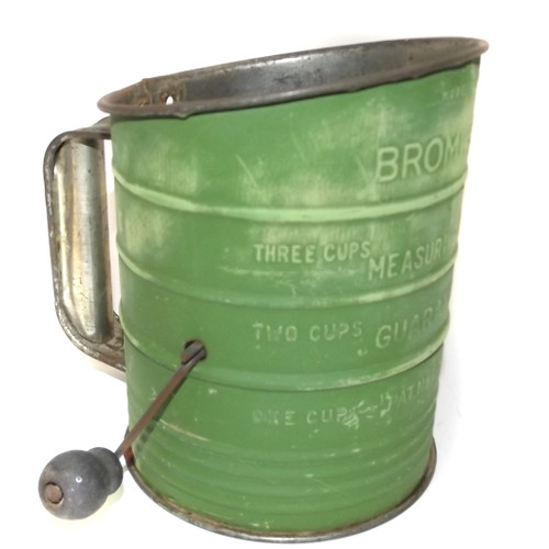 Vintage Bromwell's 3 Cup Mechanical Flour Sifter with Distressed Green Paint
