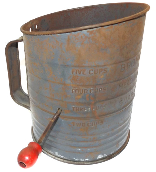 Vintage Shabby Bromwell's 5 Cup Mechanical Flour Sifter with Red Crank Knob