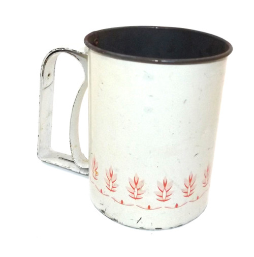 Vintage Shabby Androck Mechanical Flour Sifter with Red Leaf Graphics