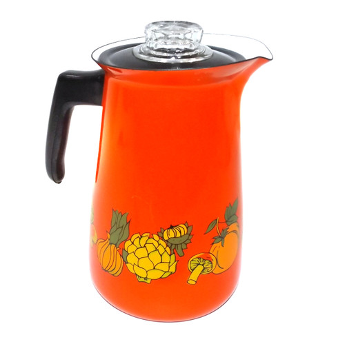 Vintage Orange Porcelain Enameled Coffee Pot with Vegetable Graphics