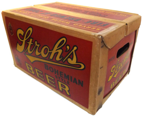 Vintage Stroh's Bohemian Style Beer Advertising Cardboard Crate Case Box