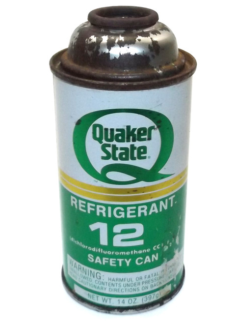 Vintage NOS Unopened Full Can of Quaker State Refrigerant 12 Can Oil Advertising