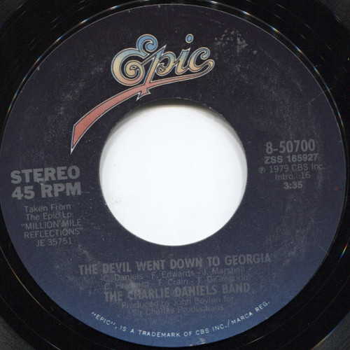 The Charlie Daniels Band: Rainbow Ride / The Devil Went Down To Georgia - 45 rpm Vinyl Record