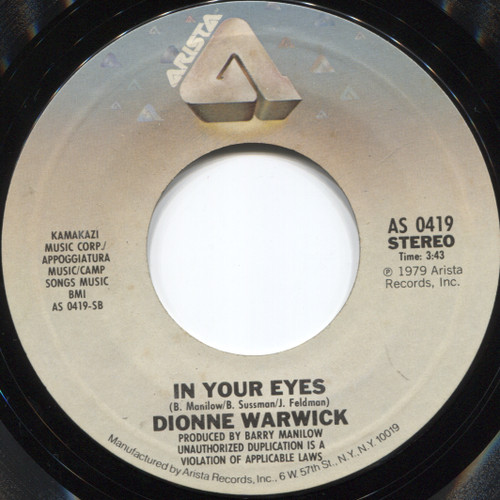 Dionne Warwick: I'll Never Love This Way Again / In Your Eyes - 45 rpm Vinyl Record