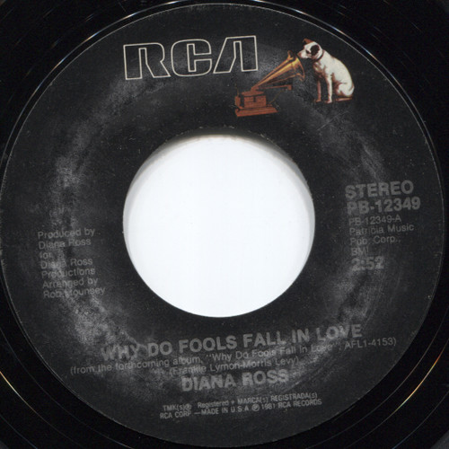 Diana Ross: Think I'm In Love / Why Do Fools Fall In Love - 45 rpm Vinyl Record