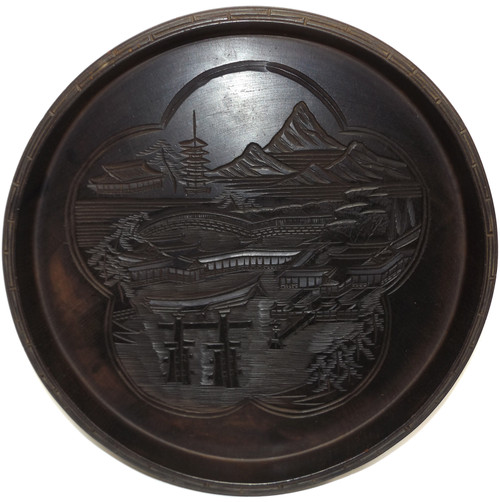 Vintage Carved Wood Decorative Oriental Tray with Mountain Village Pagoda Scene