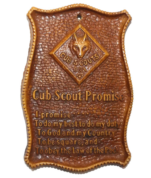Vintage Cub Scout Promise Syrocco Wood Boy Scouts of America Wall Plaque