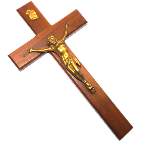 Vintage Wooden Christian Crucifix with Gilt Diecast Jesus Christ Figure