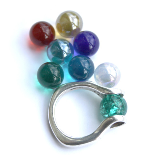 GAYM Itty Bitty Sterling Silver Ring w/ 8 Marbles Size 7