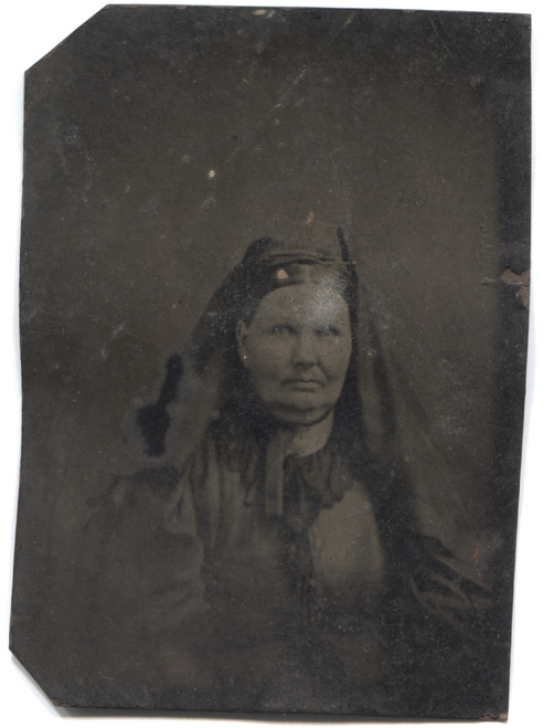 Antique Tintype Photograph of Fat Grumpy Looking Woman with Head Scarf