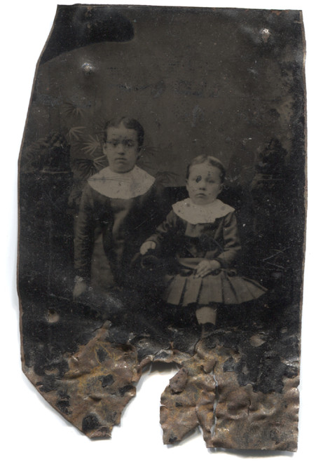 Roached Antique Tintype Photograph of Two Small Victorian Children