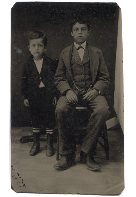 Antique Tintype Photograph of Two Young Victorian Boys
