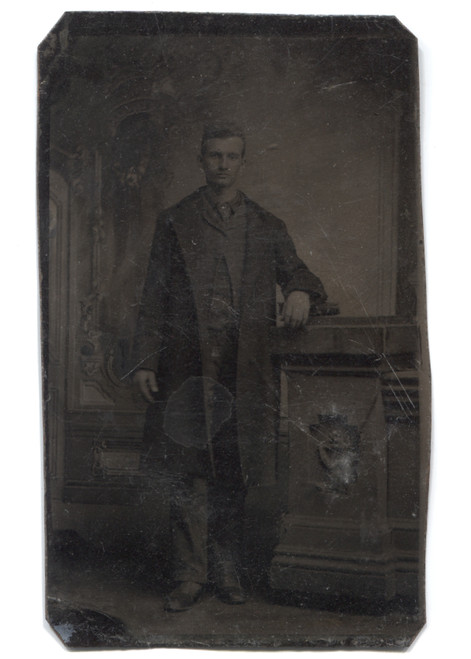 Antique Tintype Photograph of Victorian Man Standing Wearing a Duster Jacket