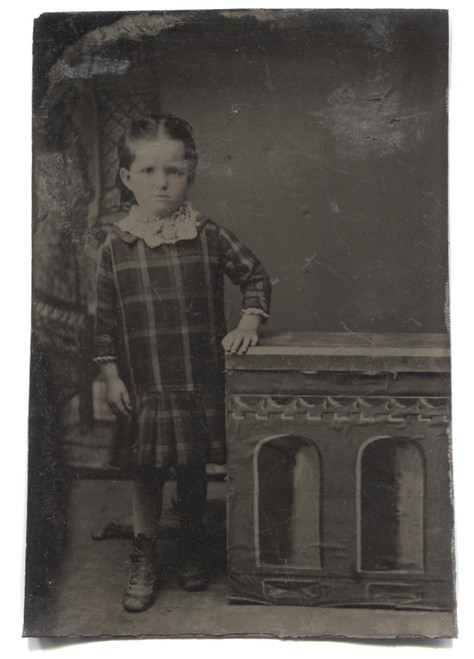 Antique Tintype Photograph of Little Victorian Girl in Plaid Dress w/ Rosy Cheeks