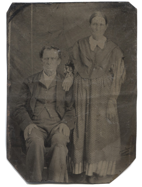 Antique Tintype Photograph Elderly Victorian Couple in Modest Clothing