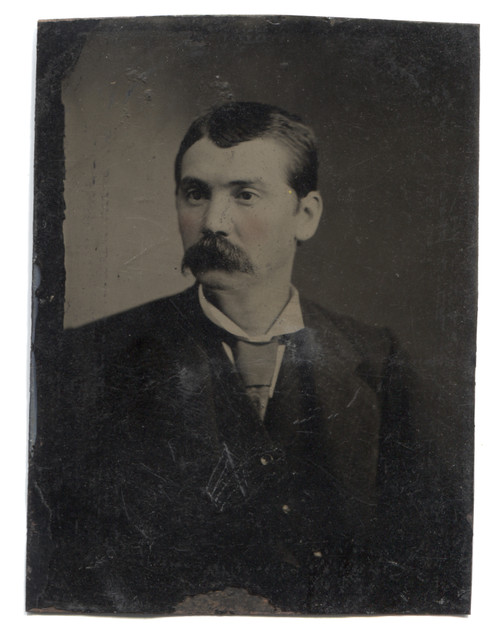 Antique Tintype Photograph of Victorian Man with Rosy Cheeks and Huge Mustache