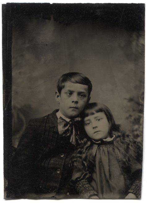 Antique Tintype Photograph of Victorian Little Girl & Cross Eyed Boy