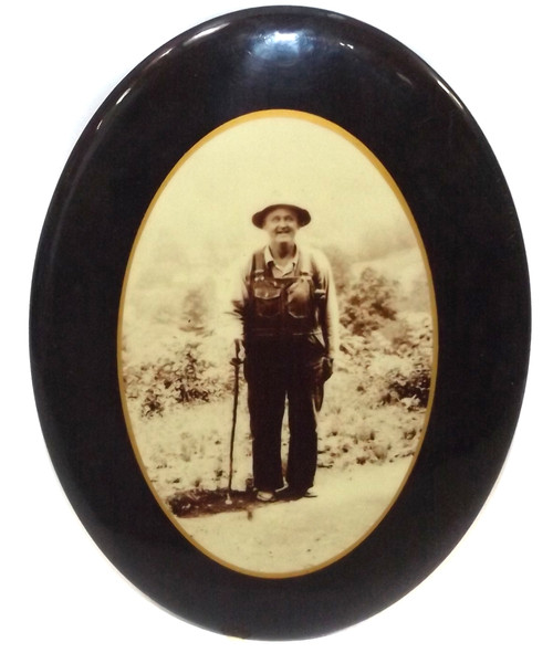 Antique Celluloid Medallion Photograph Old Old Man Hiker in Overalls
