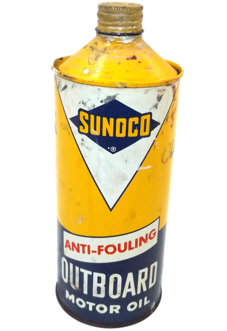 Vintage Shabby Sunoco Anti-Fouling Outboard Motor Oil Cone Top Can Boat Oil
