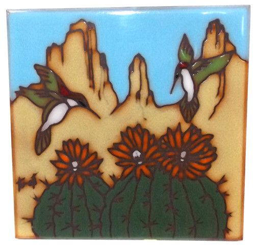 Vintage 1990 Earthtones Hand-Painted Hummingbirds & Cactus Tile Trivet