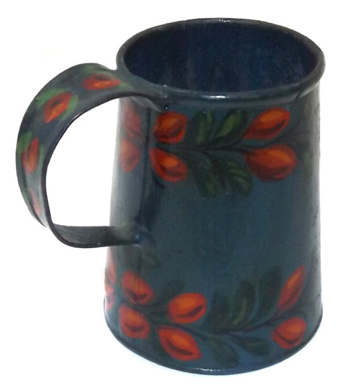 Vintage Hand Tole Painted Miniature Pitcher Mug Folk Art Cup