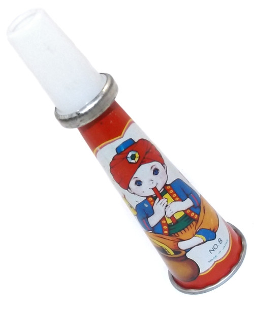 Vintage Tin Litho Toy Horn Whistle Noisemaker Snake Charmer Graphics Japan