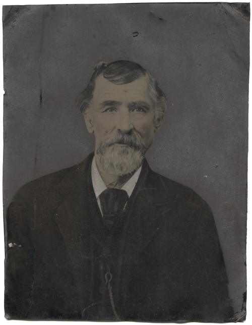 Antique Tintype Photograph Victorian Man Goatee Hand-Tinted Accents Full Plate