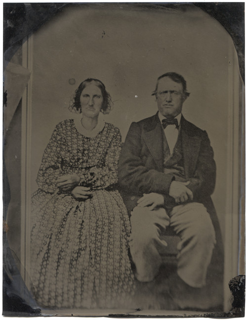 Antique Tintype Photograph Modestly Dressed Victorian Couple CDV Full Plate