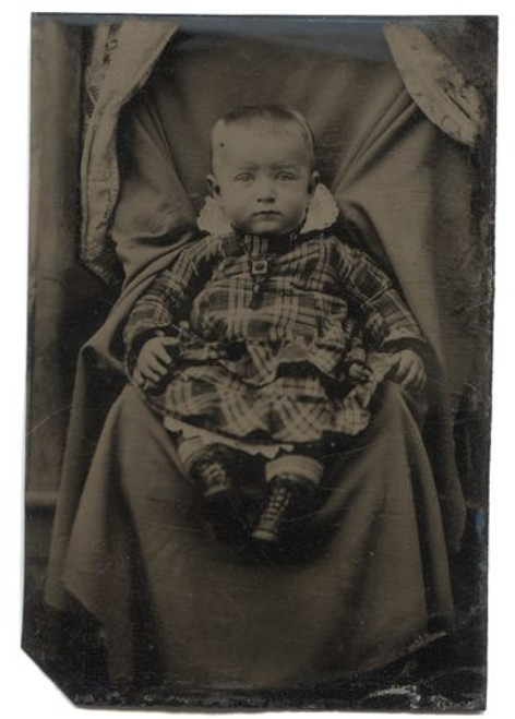 Antique Tintype Photograph Victorian Baby in Plaid Dress on Hidden Mother's Lap