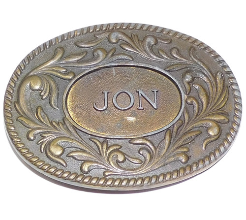 Vintage 1977 Kinney Co. Brass Tone Western Style JON Personalized Belt Buckle